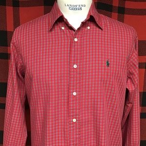 EUC POLO red and blue plaid shirt sz L